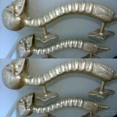 4 SKULL handle DOOR PULL spine solid BRASS old vintage style SILVER 28 cm B 3