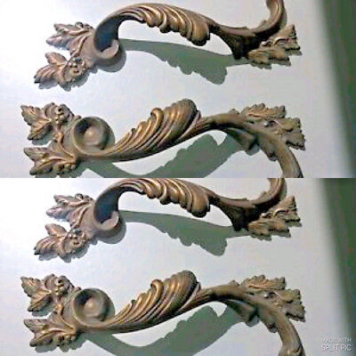 "4 Large handle DOOR PULLS solid BRASS old vintage antique style 11 "" long heavyB 2"