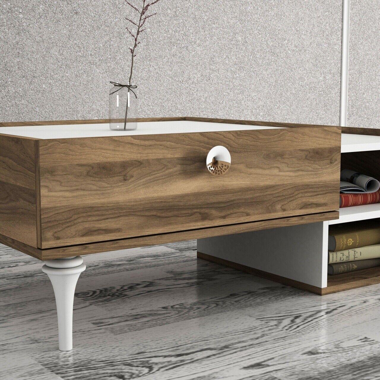 COUCHTISCH WEISS WOHNZIMMERTISCH Holz Beistelltisch Tisch Sofatisch modern  1943