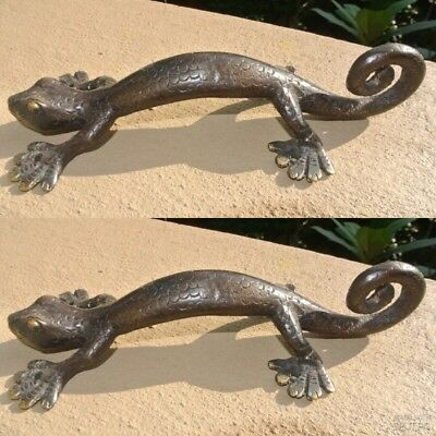 "3 small GECKO DOOR PULLS 21cm aged brass SCALE old style house handle 8.1/2"" B 3"
