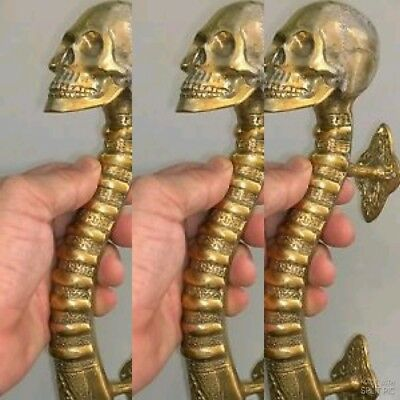 "3 small SKULL head handle DOOR PULL spine natural AGED BRASS old style 8"" B 4"