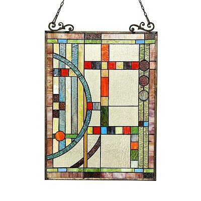 """Stained Cut Glass Tiffany Style Window Panel Contemporary Design 17.5"""" x 25"""" 2"""