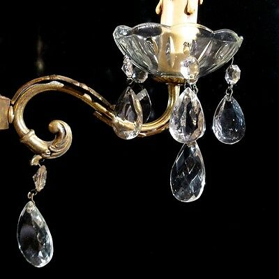 Vintage French Bronze Sconce with Crystal Bobeche and Pendeloque Prisms 7