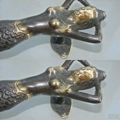 "2 MERMAID brass door PULL aged old style look heavy house PULL handle 13"" B 4"