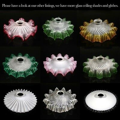 Vintage French Frosted Glass Lamp Ceiling Shade, Ruffled Edges