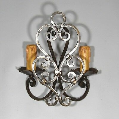 Vintage French Wrought Iron Sconce, 1920's French Riviera, Hand Forged 5