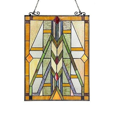 Handcrafted Stained Glass Tiffany Style Window Panel Mission Arts & Crafts 2