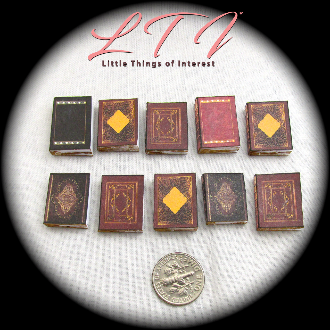 10 OLD LIBRARY BOOKS Miniature Books Set 1:12 Scale Dollhouse Prop Faux Books