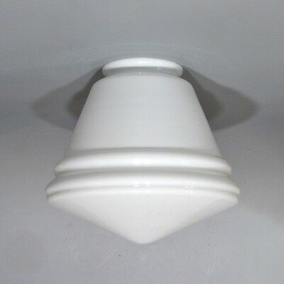 Vintage French Art Deco White Glass Globe Ceiling Shade 5