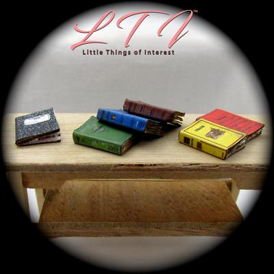 6 SCHOOL BOOKS Set Miniature Dollhouse 1:12 Scale Prop Faux Math History 6