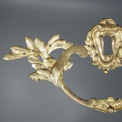 Antique French Gilded Bronze Drawer Pull Key Hole Cover Escutcheon laurel branch 2