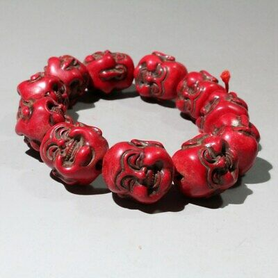 Collectable China Red Coral Hand-Carved Buddha Bring Auspicious Hand Catenary 4