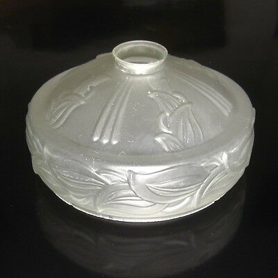 Vintage French Art Deco Frosted Glass Shade, Iris Pattern 5