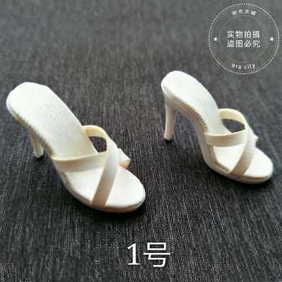 "TBLeague phicen 1:6th High heels White slipper sandals For 12/"" Female Figure"