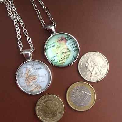 Map of Scotland, Ireland glass dome pendant necklace Celtic countries Irish 3