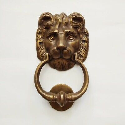 """LION head heavy front Door Knocker SOLID 100% BRASS vintage old style house 7"""" B 7"""