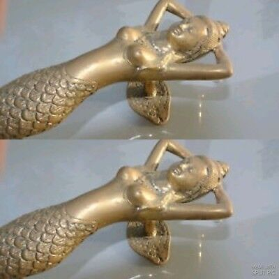"2 medium MERMAID brass door PULL old style heavy house PULL handle 13"" aged B 6"