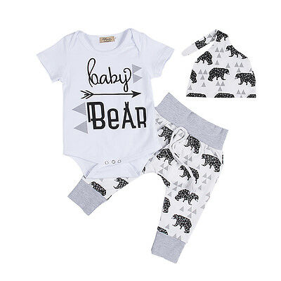 Kids Girls Boy Baby Bear Romper Cotton Tops Pants Hat 3pcs Outfits Set Clothing