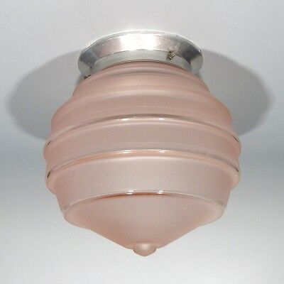 Vintage French Art Deco Ceiling Fixture Chandelier Pink Glass Globe Shade
