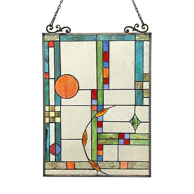 "Stained Glass Tiffany Style Window Panel Modern Contemporary  Design 17.5"" x 25"" 2"