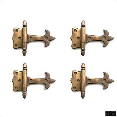 "6 solid Brass DOOR small hinges vintage age antique style restoration heavy 3"" B 8"