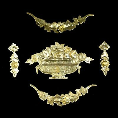 Antique French Gilded Bronze Furniture Decoration Set, Roses, Stamped, 5 pcs