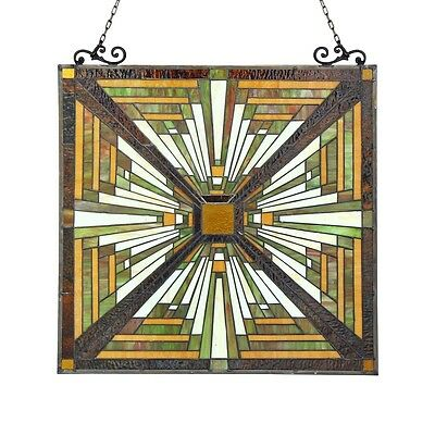 "Tiffany Style Stained Glass Window Panel Mission Arts & Crafts 24.4"" x 25.6"" 2"
