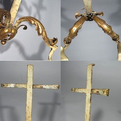 Pair of Vintage French Wrought Iron Gilded Tole Sconces, Acanthus Morning Glory 7