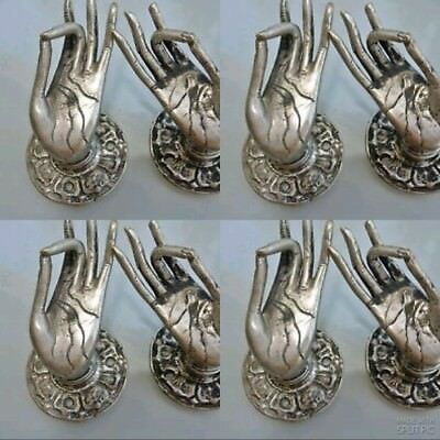 8 used TINY Buddha Pull handle SILVER brass door old style HAND knob hook B 3