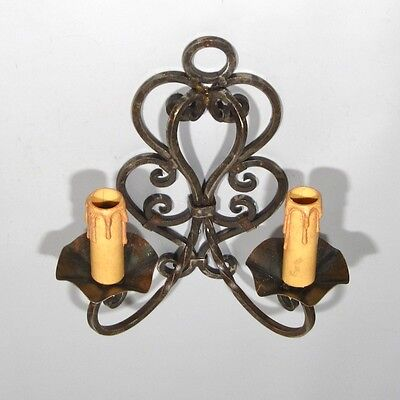 Vintage French Wrought Iron Sconce, 1920's French Riviera, Hand Forged 2