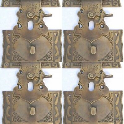 """4 box Latch catch solid brass furniture antiques doors kitchen old style 3"""" B 3"""