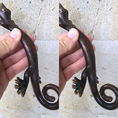 """2 small GECKO DOOR PULLS 21cm aged brass vintage old style house handle 8.1/2"""" B 3"""