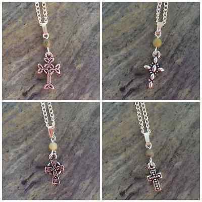 Choice of 4 Connemara marble cross pendants Celtic classic beaded.Irish jewelry 2