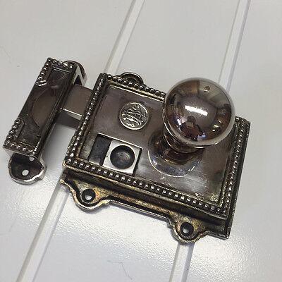Nickel Solid Brass Regency Antique Victorian Period Traditional Door Rim Latch 2