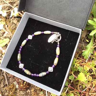 Connemara marble amethyst celtic bracelet. Irish made jewelry boxed traditional 2