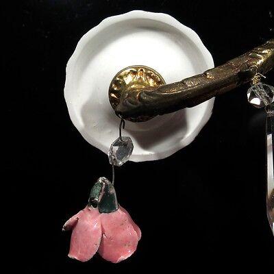 Vintage French Bronze Sconce, Crystal Prisms, Porcelain Flowers Roses & Bobeches 7