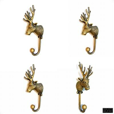 "4 small REINDEER stag horns HOOKS solid BRASS old hook aged style 6 "" Deer B 3"