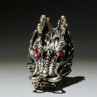 Collectable China Old Miao Silver Hand-Carved Red Eye Dragon Head Exorcism Ring 3