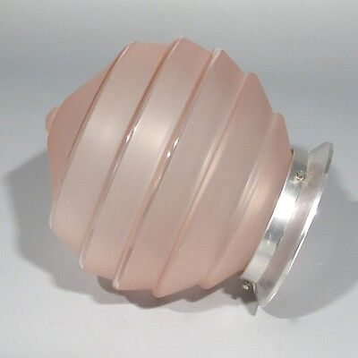 Vintage French Art DecoCeiling FixtureChandelier Pink Glass Globe Shade 2