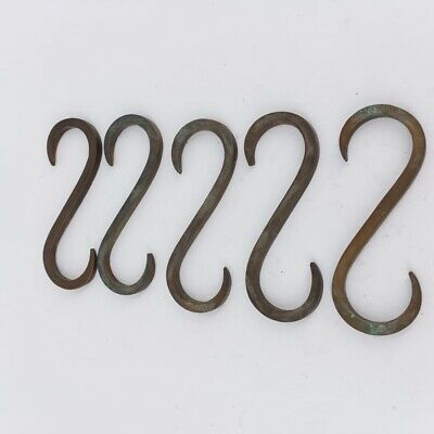 """10 """" S  """" HOOK heavy brass boat cars tieing rope hooks age cleat 8.5cm 6"""