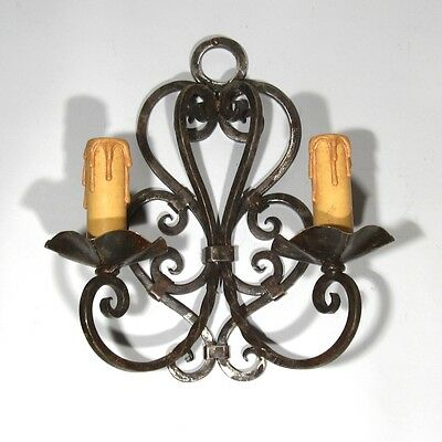 Vintage French Wrought Iron Sconce, 1920's French Riviera, Hand Forged 6