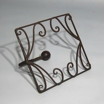 Vintage French Wrought Iron and Wood Coat Hook 5