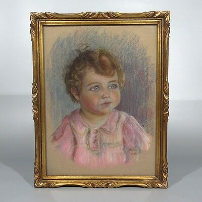 "Vintage French Pastel, Portrait of a Child, Baby, Girl, Signed ""P. Natier"", 1942 4"