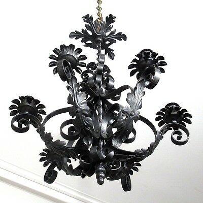 Vintage French Wrought Iron Chandelier Six Lights Mid-20th Century Riviera Style 4