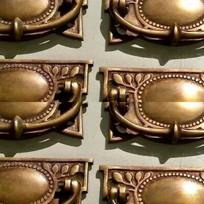 8 heavy vintage old style handles door brass furniture antiques 95 mm pulls B 2