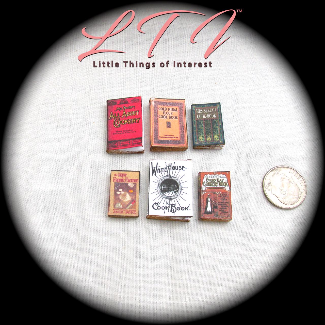 6 VINTAGE OLD COOKBOOKS Set Miniature Dollhouse 1:12 Scale Books PROP Faux 4