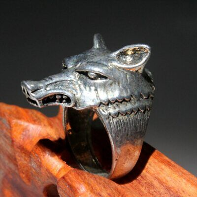 Collectable China Handwork Miao Silver Carve Interesting Fox Head Beautiful Ring 2