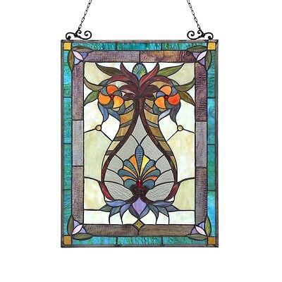 """Handcrafted Tiffany Style Stained Glass Window Panel 17.5"""" X 25"""" 179 PC Glass 2"""