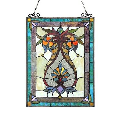 "Handcrafted Tiffany Style Stained Glass Window Panel 17.5"" X 25"" 179 PC Glass 2"