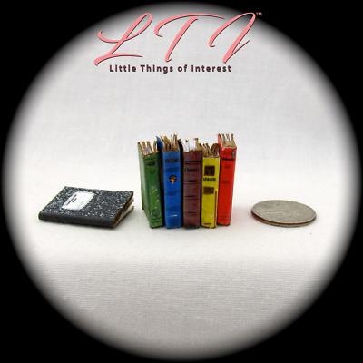 6 SCHOOL BOOKS Set Miniature Dollhouse 1:12 Scale Prop Faux Math History 4